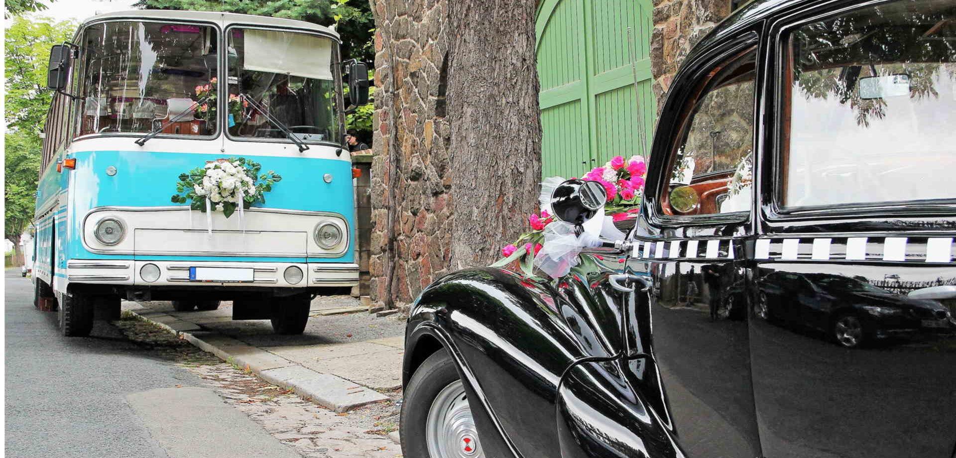 Oldtimerbus Fleischer und EMW 340 zur Hochzeit mieten